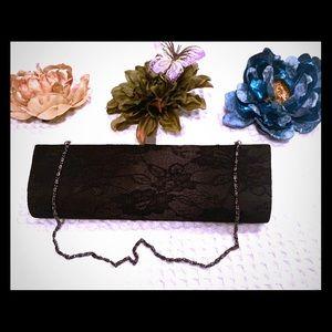 Jessica McClintock Elegant Black Lace Evening Bag.